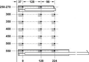 Ray Âm EPC Giảm Chấn Mở 3/4 Dài 350mm Hafele 433.03.003