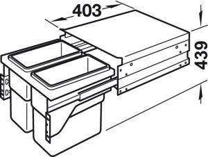 Thùng Rác R450mm Có Ray Kéo Hafele 502.73.901