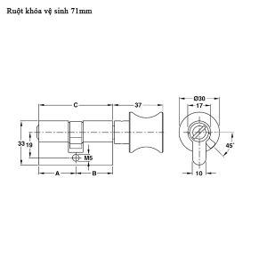 Ruột Khóa Cửa Nhà WC 71mm Hafele 916.96.689