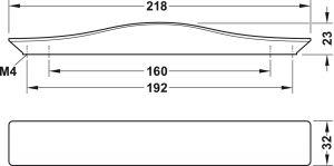 Tay Nắm Tủ H1765 Dài 218mm Hafele 106.62.386
