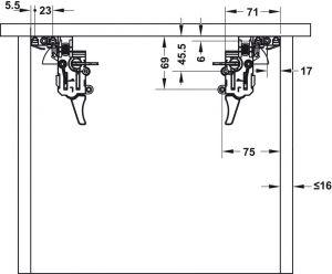 Ray Âm EPC Pro Nhấn Mở 300mm Hafele 433.32.061
