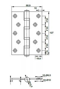 Bản Lề Lá 2 Vòng Bi 80Kg Hafele 926.20.120