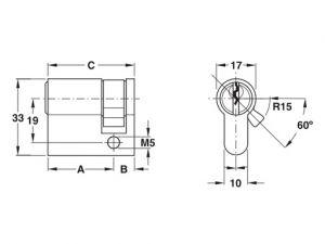 Ruột Khóa 1 Đầu Chìa 45mm Hafele 916.96.117