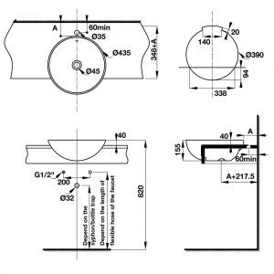 Chậu Lavabo Bán Âm Compact Hafele 588.82.203