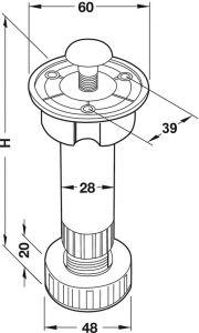 Chân Tủ Bằng Nhựa 80mm Hafele 637.45.308