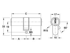 Ruột Khóa 2 Đầu Chìa Dài 60mm Hafele 916.96.007