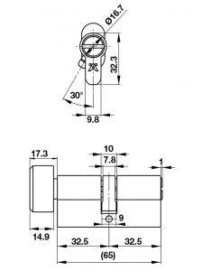 Ruột Khóa 65mm 1 Đầu Vặn 1 Đầu Chìa Hafele 489.56.252