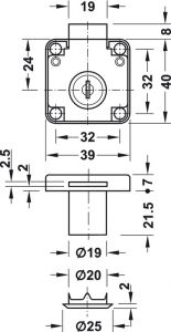 Khóa Vuông Econo Cửa Dày 22mm Hafele 232.01.220