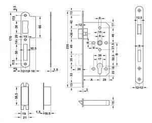 Thân Khóa Lưỡi Gà Chốt Chết C/C 72mm Hafele 911.02.168