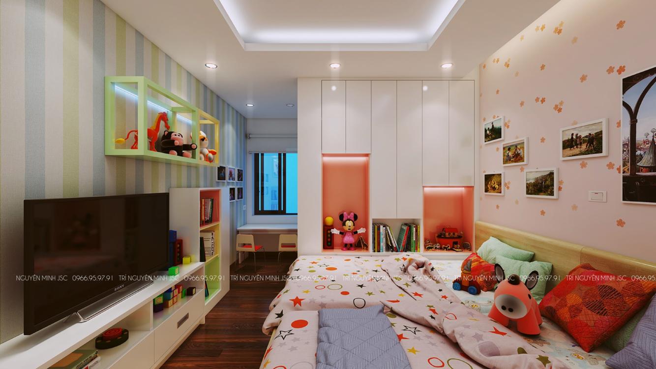 Phòng ngủ 2 con với giường đôi