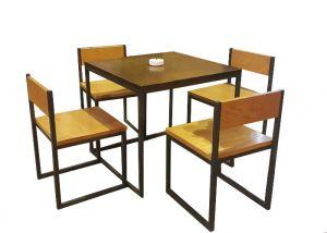 Bộ bàn ghế cafe khung sắt mặt gỗ BGCF13