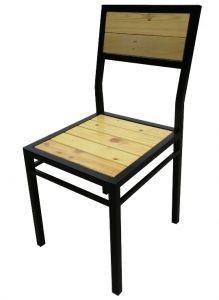Ghế chân sắt mặt gỗ thông pallet GPL2