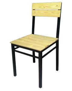 Ghế khung sắt mặt gỗ thông pallet GPL1