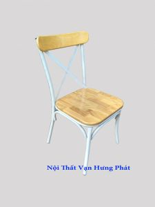 Ghế gỗ cao su chân sắt GS4