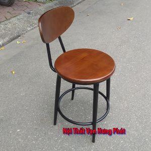 Mẫu Ghế chân sắt mặt gỗ cho quán cafe GCF12