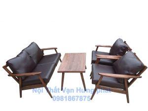 Bộ bàn ghế sofa cafe khung gỗ sồi đệm da