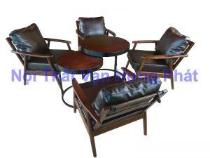 Bộ sofa cafe gỗ CoGo bọc nệm da cao cấp