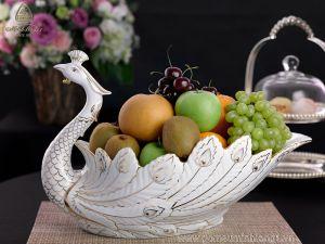 Đĩa đựng hoa quả khổng tước viền chỉ vàng