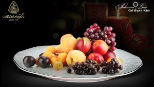 Đĩa đựng hoa quả chỉ bạch kim 37cm