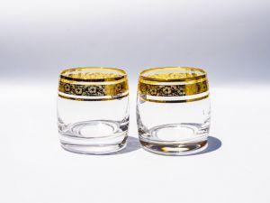 Bộ cốc thủy tinh khảm vàng