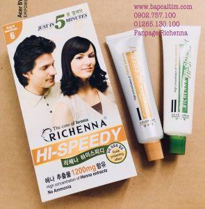 Thuốc nhuộm tóc phủ bạc thảo dược Richenna Hi-Speedy màu nâu đen