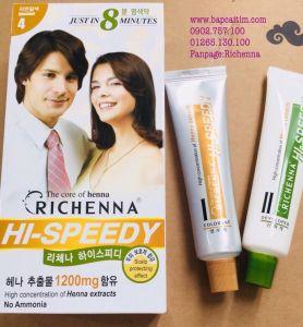 Thuốc nhuộm tóc phủ bạc thảo dược Richenna Hi-Speedy màu nâu hạt dẻ