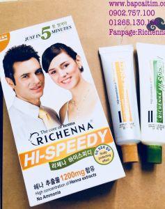 Thuốc nhuộm tóc phủ bạc thảo dược Richenna Hi-Speedy màu nâu đậm