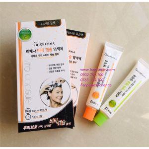 Dầu gội nhuộm tóc phủ bạc thảo dược Richenna Vitamin E - màu nâu tự nhiên