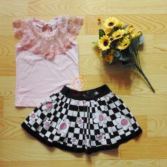 Bộ váy thiết kế áo viền váy caro hoa