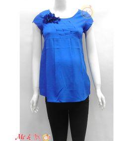 Áo bầu thời trang đính hoa màu xanh