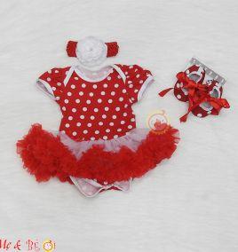 Set body suit kèm băng đô và giày chấm bi đỏ cho bé gái