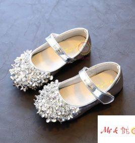 giày búp bê da đính hột cho bé gái