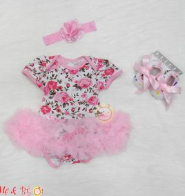 Set body suit hình hoa kèm băng đô và giày cho bé gái