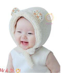 Nón lông 2 dây cột giữ ấm cho bé