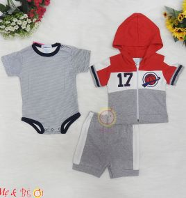 Set body suit kèm áo khoác tay ngắn và quần cho bé trai
