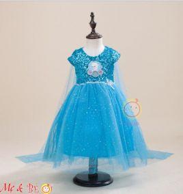 Đầm công chúa ELSA kèm khăn choàng lưới cho bé gái
