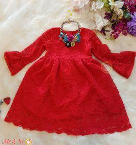Đầm dự tiệc ren tay dài  sang trọng  cho bé gái ( size lớn)
