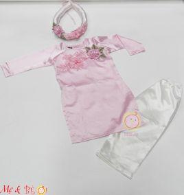 Áo dài tết phi bóng kèm mấn cho bé ( size nhỏ)
