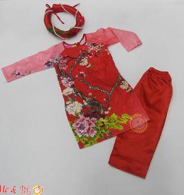 Áo dài tết gấm kèm mấn cho bé gái ( size lớn )