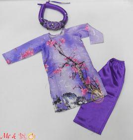 Áo dài tết gấm kèm mấn cho bé gái ( size nhỏ)