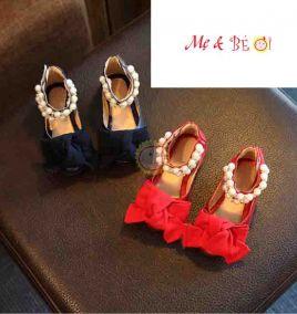 Giày búp bê nơ đính hột ngọc trai cho bé gái