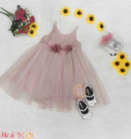 Đầm rendự tiệc 2 dây cho bé gái