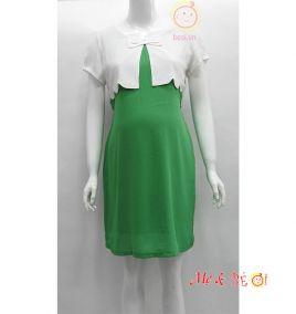 Đầm bầu voan thời trang màu xanh