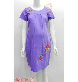 Đầm bầu công sở thêu hoa màu tím