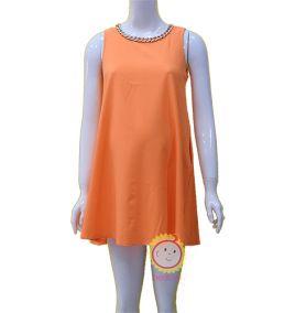 Đầm suông sát nách màu cam