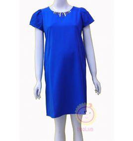 Đầm bầu viền cổ trẻ trung màu xanh dương