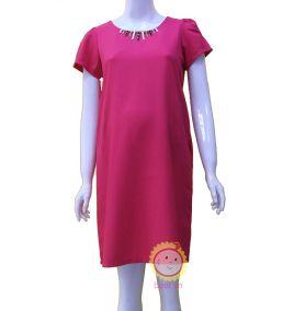 Đầm bầu viền cổ trẻ trung màu hồng sen