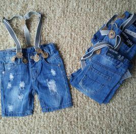Quần short lửng jean rách dây đeo cho bé trai