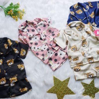 Đồ bộ pijama phi bóng lụa cho bé gái