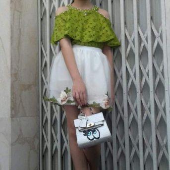 Set áo trễ vai váy trắng viền hoa thêu size lớn 7